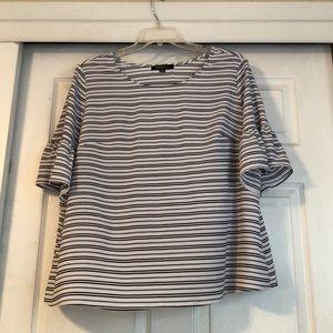 Black white striped ruffle sleeves 2X top